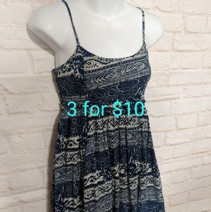 Blue and cream Paisley dress xxs 3for10